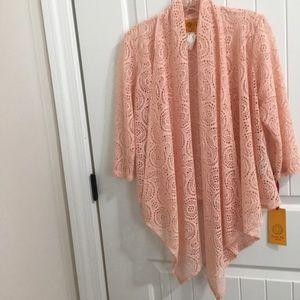 RUBY RD PS Boho Open Cardigan cascade peach lace